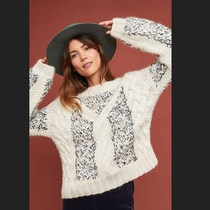 NWOT Anthropologie Cable-knit Alpaca Sweater